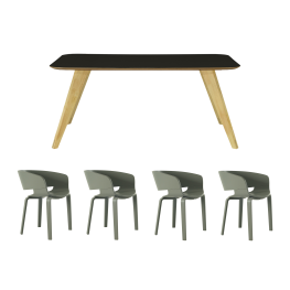e3e0d97772ddf Ryder Dining Table 1.8m with 4 Huela Dining Chairs – (1 x Ryder Dining  Table 1.8m – Black Ash Veneer